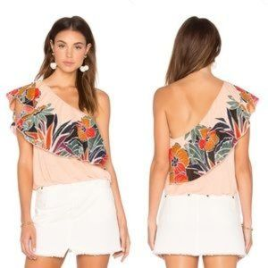 Free People Tropical One-Shoulder Tank XS